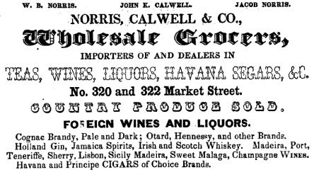 1852 - W. B Norris now associated with Norris, Calwell & Co.